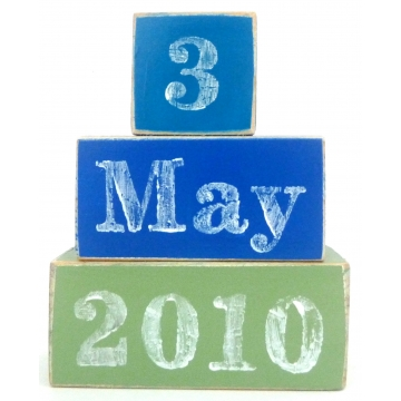 .Wooden Blocks - Personalised<br><b>Date of Birth Set</b><br>choose your colours and date