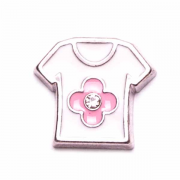 Children Charm for Floating Memory Locket - Pink Shirt with Flower