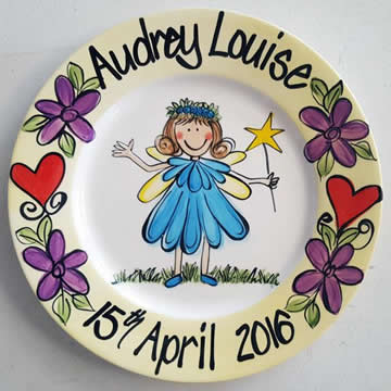 Handpainted Personalised Plate - Blue Petal Fairy