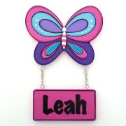 Door Name Plaque for Kids - Door Motif Plaque BUTTERFLY PINK 2