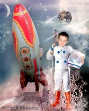 Kids and Baby Fantasy Photo Illustration 'Space Travel'
