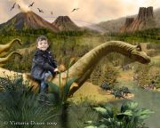 Kids and Baby Fantasy Photo Illustration 'Land Before Time'
