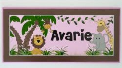 Personalised Name Plaque for kids wall or door Jungle Girl