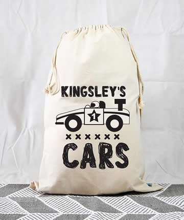Personalised Kids Drawstring Toy Storage Sack - Racing Car & Stix and Stones Baby - Personalised Kids Drawstring Toy Storage Sack ...