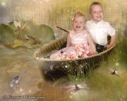 Kids and Baby Fantasy Photo Illustration 'Gone Fishing'