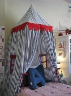 LARGE Kids Castle / Play Tent - Navy with Red Trim