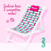Kids Deck Chair Personalised - Seahorses