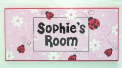 Personalised Name Plaque for kids wall or door Ladybird
