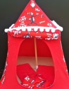 Kids Mini Play Tent Teepee - Red and White Cat in the Hat Design