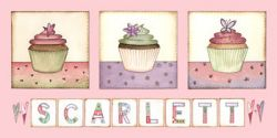Canvas Name - Cupcakes (25cms x 50cms) Avail. in 20 different colours