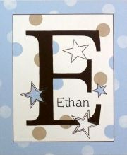 Personalised Kids Name Canvas Wall Art Canvas Name Plaque Handpainted Stars (Sky Blue and Beige)
