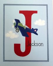 Personalised Kids Name Canvas Wall Art Canvas Name Plaque Handpainted Aeroplane
