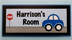Personalised Name Plaque for kids wall or door Blue Car