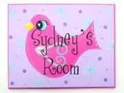 Personalised Name Plaque for kids wall or door Little Birdie Mauve