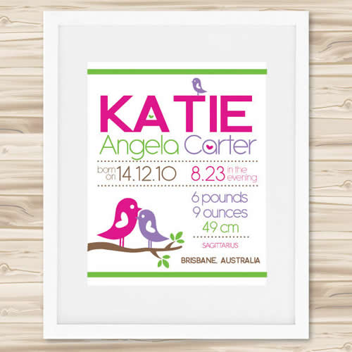 Personalised Wall Art Print - Baby Birth Details Print - Katie  sc 1 st  Stix and Stones Baby & Stix and Stones Baby - Personalised Wall Art Print - Baby Birth ...