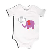 Elephant Purple - Bodysuit Personalised for Baby