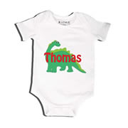 Green Dinosaur - Bodysuit Personalised for Baby