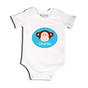 Monkey Blue - Bodysuit Personalised for Baby