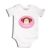 Monkey Pink - Bodysuit Personalised for Baby