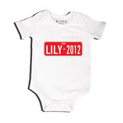 Number Plate Red - Bodysuit Personalised for Baby