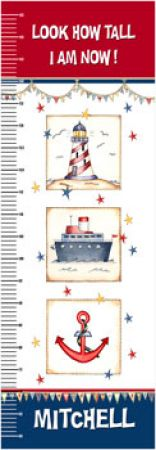 Personalised Canvas Growth Chart - Nautical