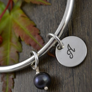 Handstamped Personalised Bracelet - Eternity Bangle with dark pearl
