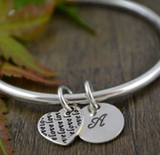 Handstamped Personalised Bracelet - Eternity Bangle with lovelovelove Heart