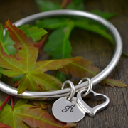 Handstamped Personalised Bracelet - Eternity Bangle with Open Heart