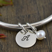 Handstamped Personalised Bracelet - Eternity Bangle with white pearl