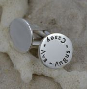 Personalised Silver Cufflinks for Dad, Men - Round Cufflinks Sterling Silver