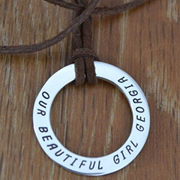 Personalised Silver Jewellery for Dad, Men - Large eternity circle on leather Sterling Silver
