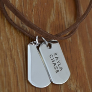 Personalised Silver Jewellery for Dad, Men - Medium Tag on Leather Sterling Silver