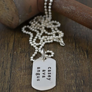 Personalised Silver Jewellery for Dad, Men - Medium Tag with Ball Chain Sterling Silver