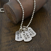 Personalised Silver Jewellery for Dad, Men - Small Tag (one with chain) Sterling Silver