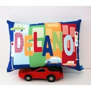 .Personalised Cushion for kids - Cars and Buildings Navy Design