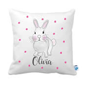 .Personalised Cushion for kids - Bunny Rabbit Pink