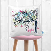 .Personalised Cushion for kids - Butterfly Tree Design