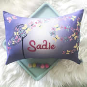 .Personalised Cushion for kids - Catching Butterflies Purple Design