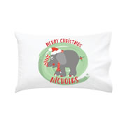 .Personalised Kids Pillowcase Merry Christmas Elephant