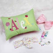.Personalised Cushion for kids - Classic Apple Green Design