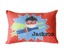 .Personalised Cushion for kids - Flying Superhero Design