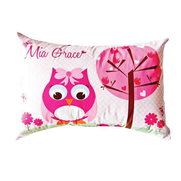 .Personalised Cushion for kids - Pretty Pink Owl Design