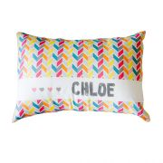 .Personalised Cushion for kids - Girls Rainbow Chevron Design
