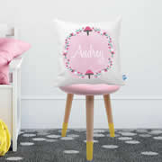 .Personalised Cushion for kids - Pink Toadstool