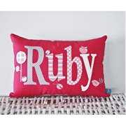 .Personalised Cushion for kids - Classic Raspberry Design