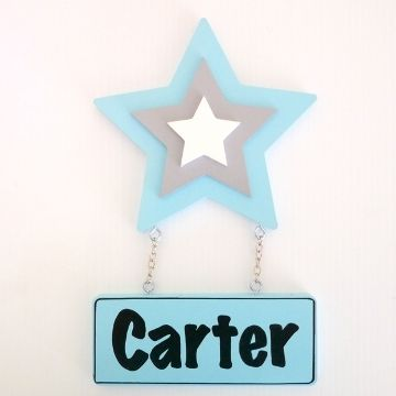 Door Name Plaque for Kids - Door Motif Plaque STAR ICE BLUE and GREY