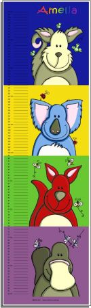 Growth Chart Personalised for Kids Growth Chart - Aussie Animals Set
