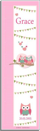 Growth Chart Personalised for Kids Growth Chart - Cute Hoots PINK