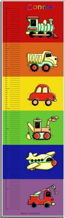 Growth Chart Personalised for Kids Growth Chart - Mixed Transport and Construction BRIGHT