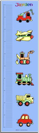 Growth Chart Personalised for Kids Growth Chart - Mixed Transport and Construction Set